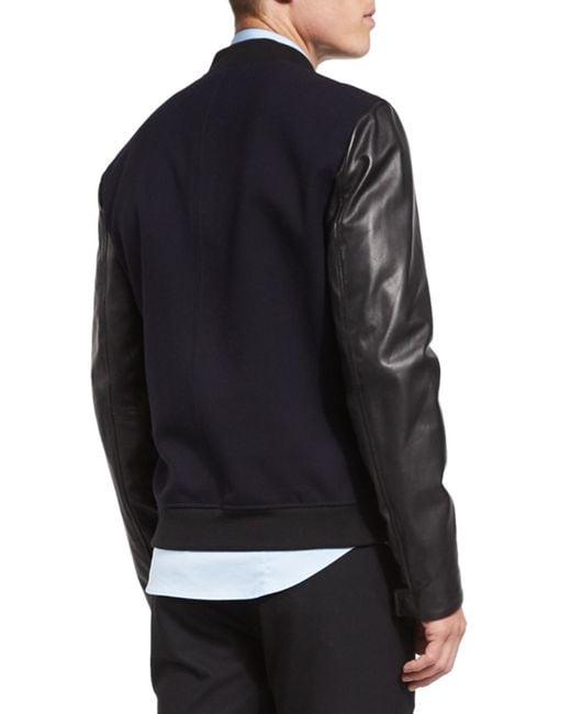 Vince City Varsity Leather Bomber Jacket In Blue For Men