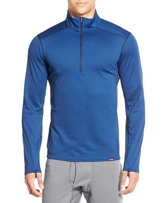 Patagonia | Blue 'capilene Midweight' Base Layer Half Zip T-shirt for Men | Lyst