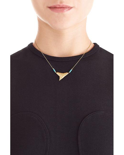 Aurelie Bidermann   Blue Shark 18kt Yellow Gold Necklace With Turquoise   Lyst