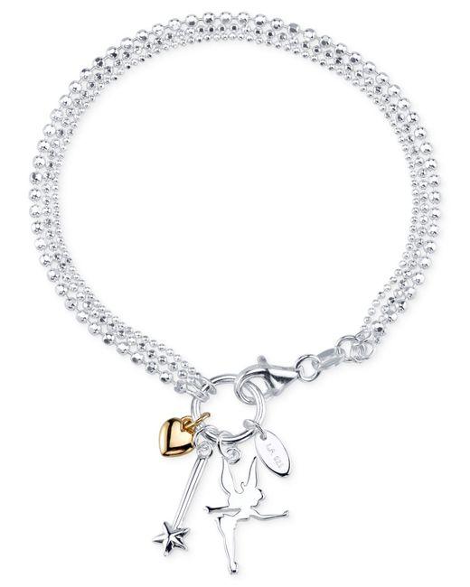 Tinkerbell Charm Bracelet: Disney Two-tone Tinker Bell Charm Bracelet In Sterling