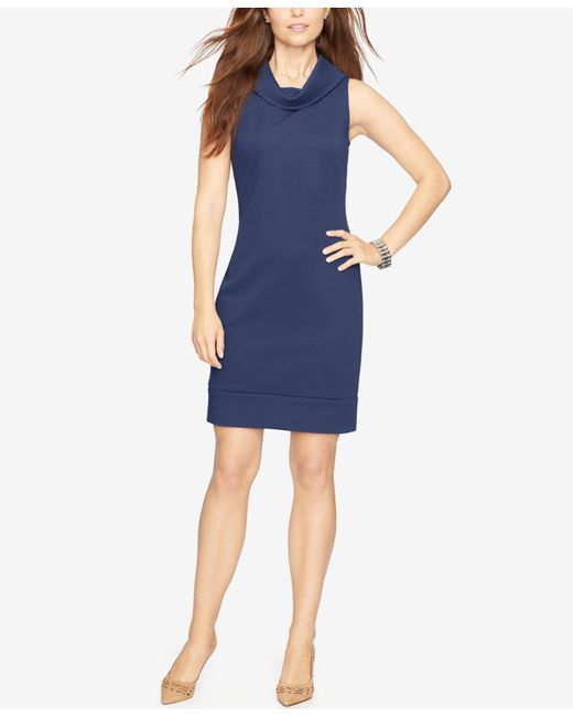 Cowl Neck Sheath Dresses: American Living Cowl-neck Sleeveless Sheath Dress In Blue