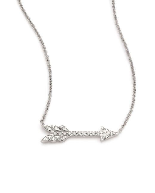 Roberto Coin | Metallic Tiny Treasures Diamond & 18k White Gold Arrow Necklace | Lyst
