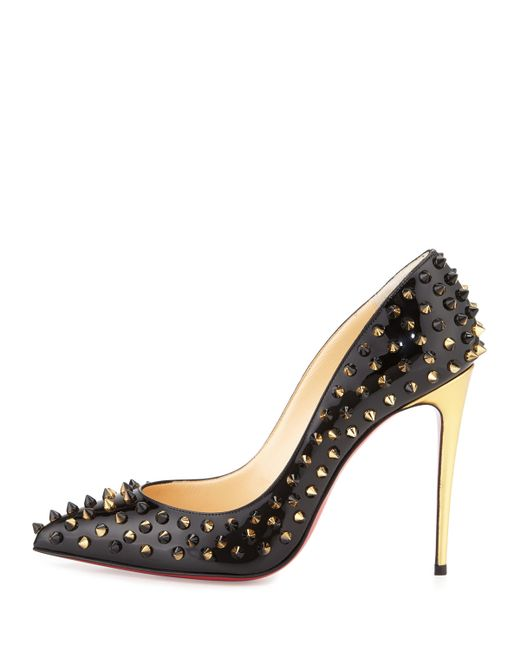 fake louboutins online - Christian louboutin Follies Spike-Studded Leather Pumps in Black ...