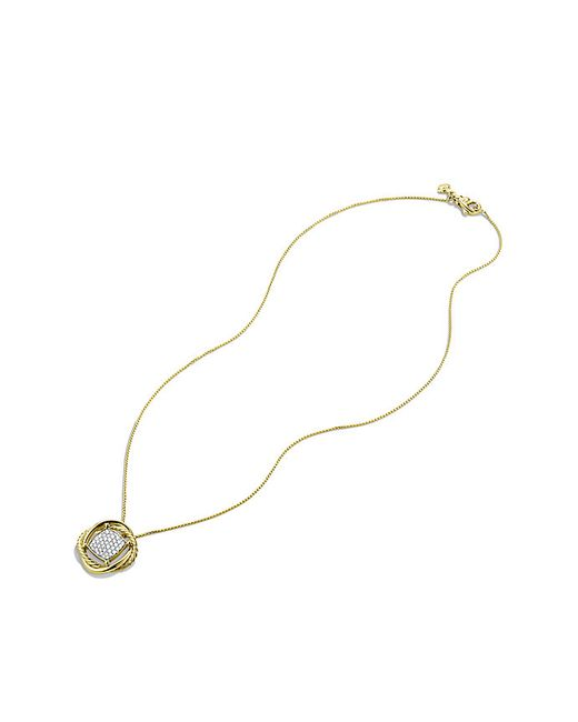 David Yurman   Metallic Infinity Cushion Pendant Necklace With Diamonds In Gold   Lyst