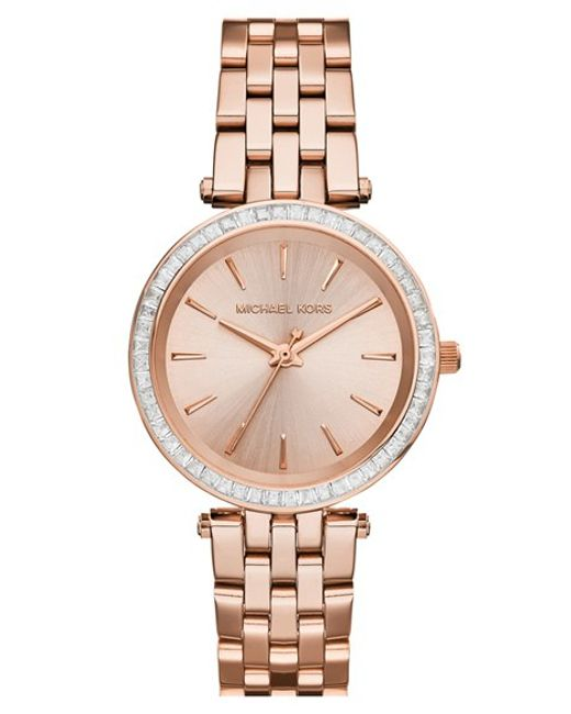 MICHAEL Michael Kors | Pink Michael Kors 'mini Darci' Round Bracelet Watch | Lyst