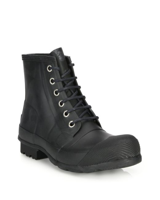 Hunter | Black Quilted Lace-up All-weather Boots for Men | Lyst