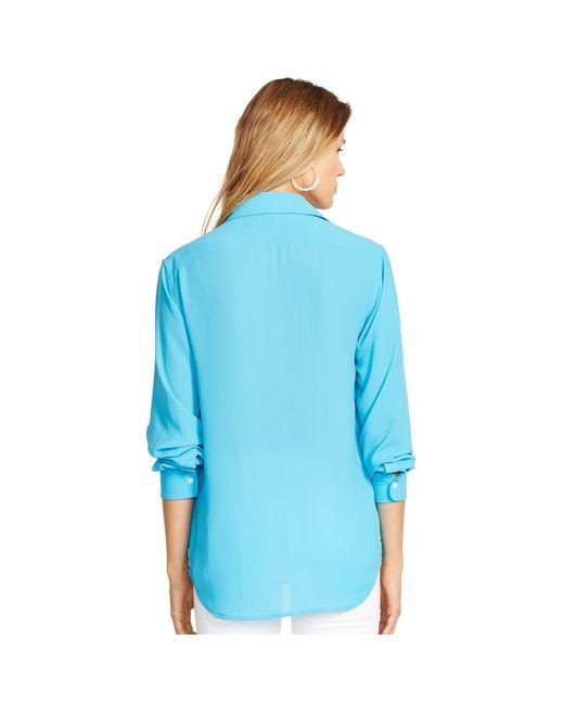 Polo Ralph Lauren   Blue Crepe Long-sleeve Shirt   Lyst