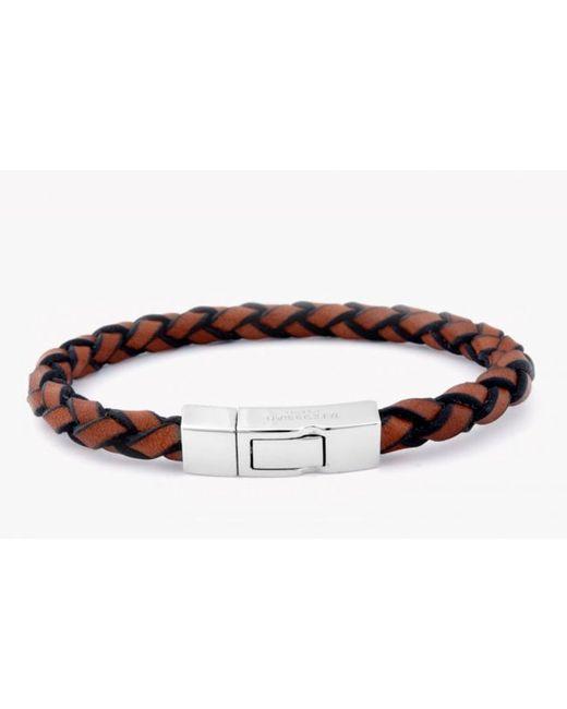 Tateossian | Brown Single Wrap Scoubidou Tan Leather Bracelet With Silver Clasp for Men | Lyst