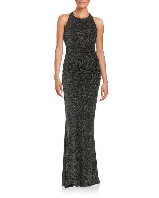 Calvin Klein   Black Ruched Shimmer Gown   Lyst