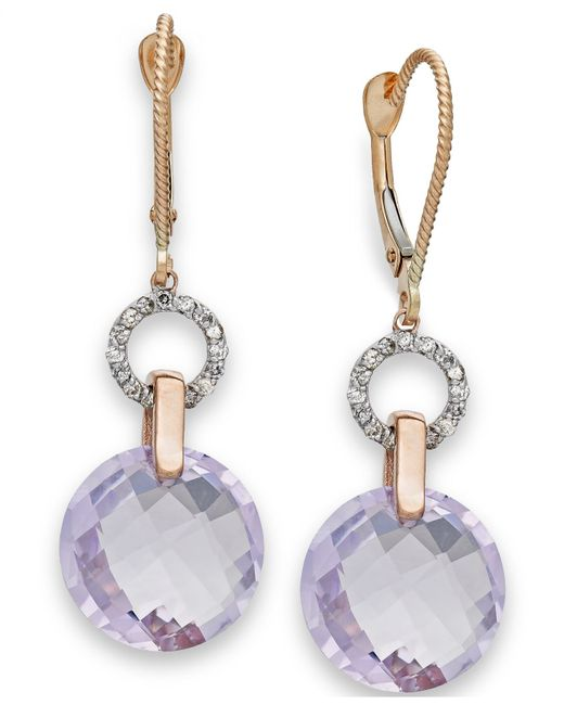 Macy's | Metallic Pink Amethyst (10-5/8 Ct. T.w.) And Diamond (1/6 Ct. T.w.) Earrings In 14k Rose Gold | Lyst
