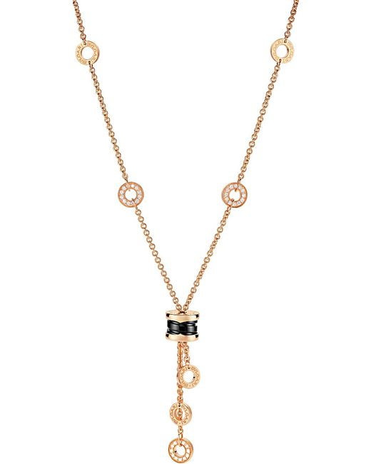 BVLGARI | Metallic B.zero1 18kt Pink-gold Necklace With Black Ceramic And Pavé Diamonds | Lyst