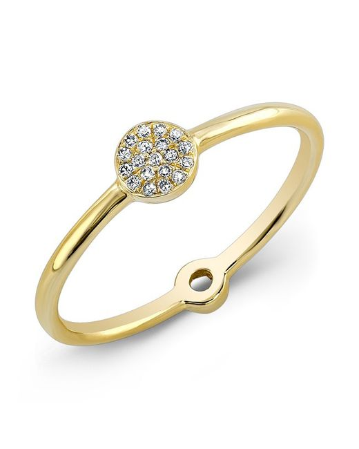 Anne Sisteron | Metallic 14kt Yellow Gold Diamond Mini Disc Ring | Lyst