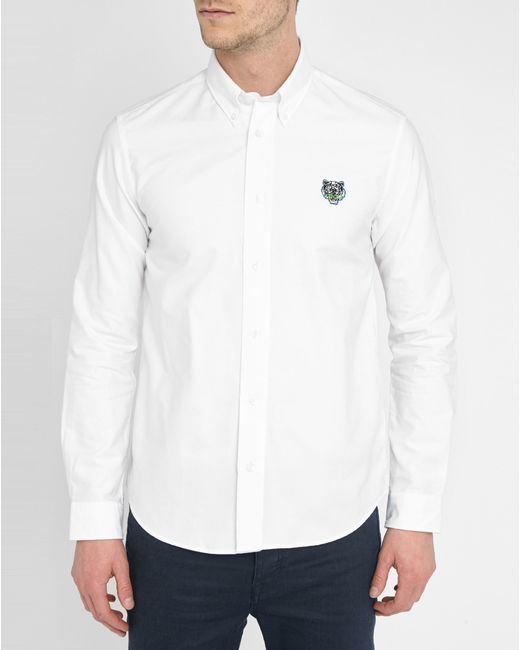 Kenzo white button down collar tiger logo oxford shirt in for White button down collar oxford shirt