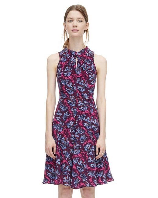 Rebecca Taylor | Purple Printed Mock Neck Dress | Lyst