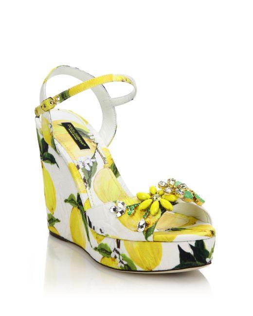 dolce gabbana embellished lemon print brocade platform