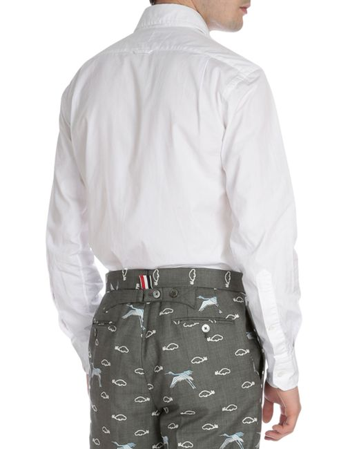 Thom browne solid color oxford shirt with pocket in white for Thom browne white shirt