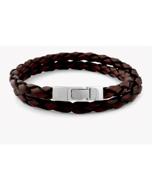 Tateossian | Double Wrap Scoubidou Brown Leather Bracelet With Silver Clasp for Men | Lyst