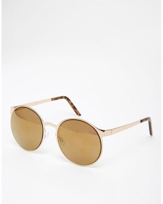 d0e03d508e2 Asos Oversized Round Sunglasses In Metal Frame in Gold