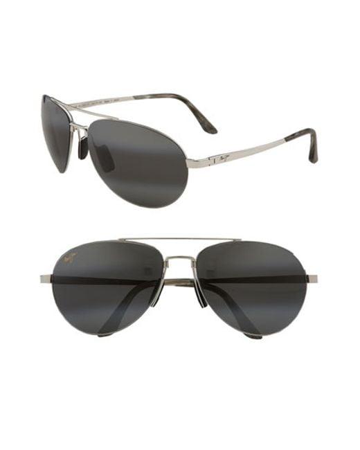 Maui Jim | Metallic 'pilot - Polarizedplus2' 63mm Sunglasses for Men | Lyst
