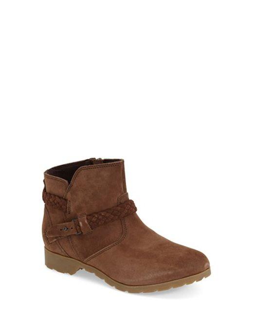 teva delavina suede boots in brown bison lyst