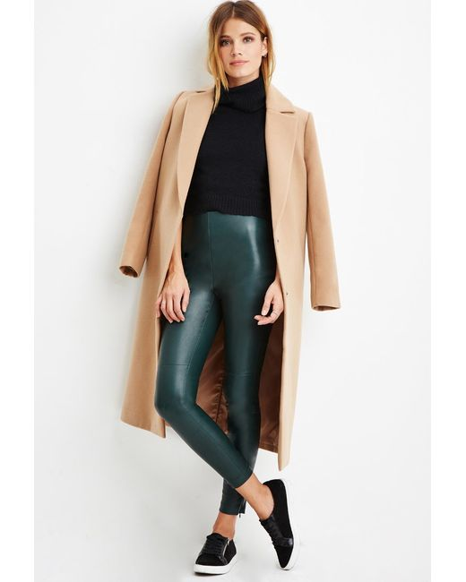 Forever 21   Green Faux Leather Leggings   Lyst