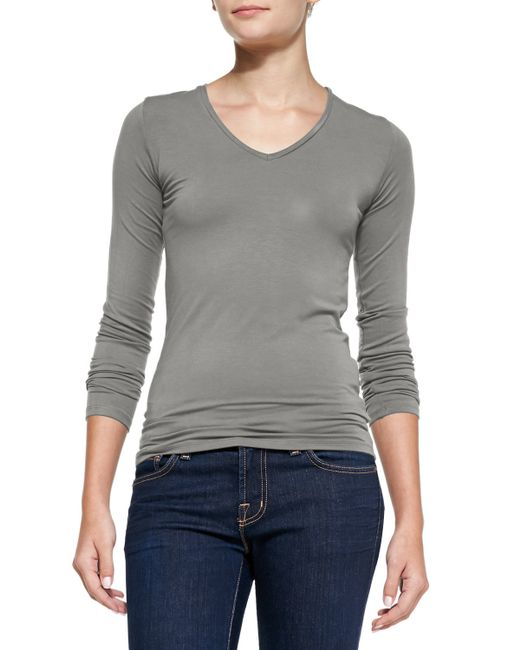Neiman Marcus | Gray Soft Touch Long-sleeve V-neck Tee | Lyst