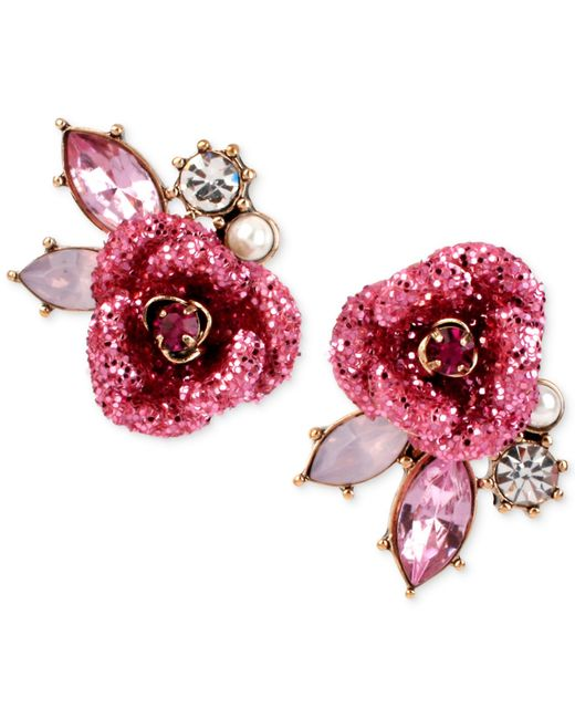 Betsey Johnson | Pink Gold-tone Glitter Rose Mismatch Stud Earrings | Lyst