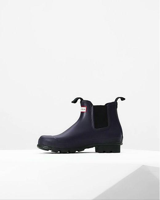 Hunter | Blue Men's Original Dark Sole Chelsea Boots for Men | Lyst