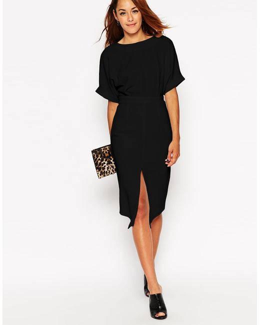 ASOS | Wiggle Dress With Split Front - Black | Lyst
