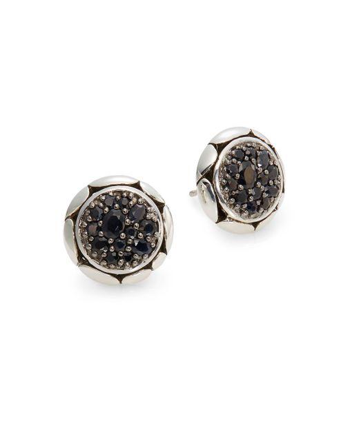John Hardy | Metallic Kali Black Sapphire & Sterling Silver Button Earrings | Lyst