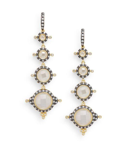 Freida Rothman   Metallic Pavé Crown Station Drop Earrings   Lyst