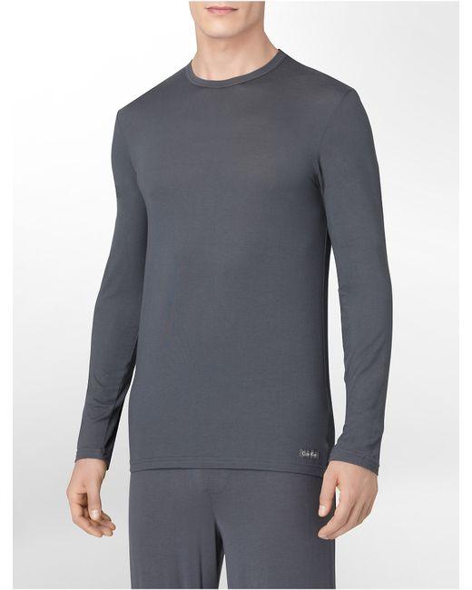 Calvin Klein   Gray Underwear Micro Modal Long-sleeve Crew for Men   Lyst
