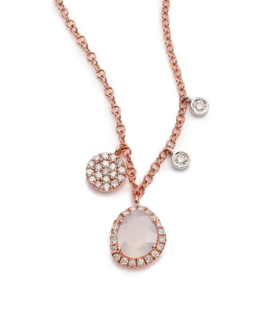 Meira T | Pink Chalcedony, Mother-of-pearl, Diamond & 14k Rose Gold Charm Necklace | Lyst