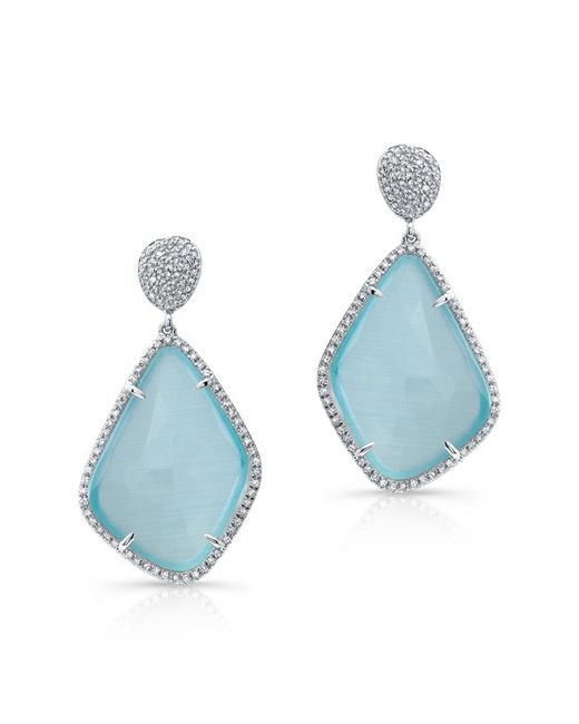 Anne Sisteron | 14kt White Gold Blue Satoya Diamond Earrings | Lyst