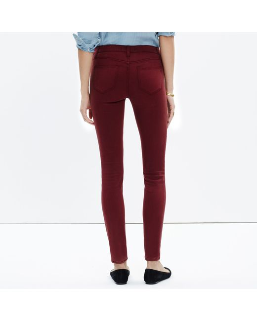 "Madewell | Red Tall 8"" Skinny Sateen Jeans 