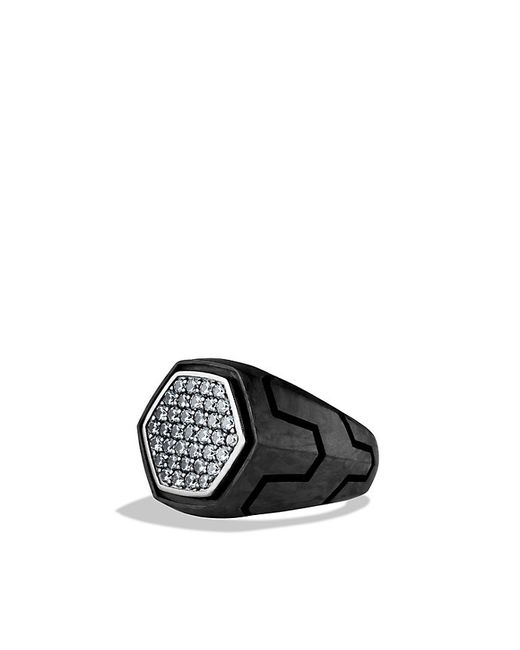 David Yurman | Forged Carbon Signet Ring With Gray Sapphire for Men | Lyst