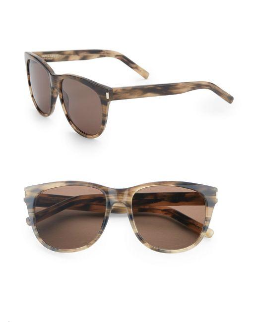 Saint Laurent | Brown 55mm Rounded Wayfarer Sunglasses | Lyst