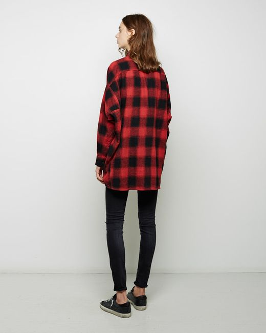 R13 Oversized Plaid Shirt In Red Black Red Lyst