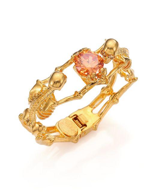 Alexander McQueen   Metallic Twin Skeleton Crystal Bracelet   Lyst