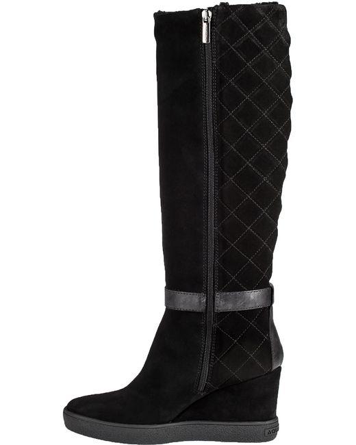 aquatalia callie suede wedge knee high boots in black lyst