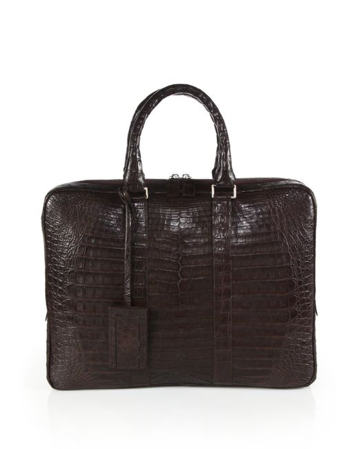 Santiago Gonzalez | Brown Crocodile Slim Briefcase for Men | Lyst