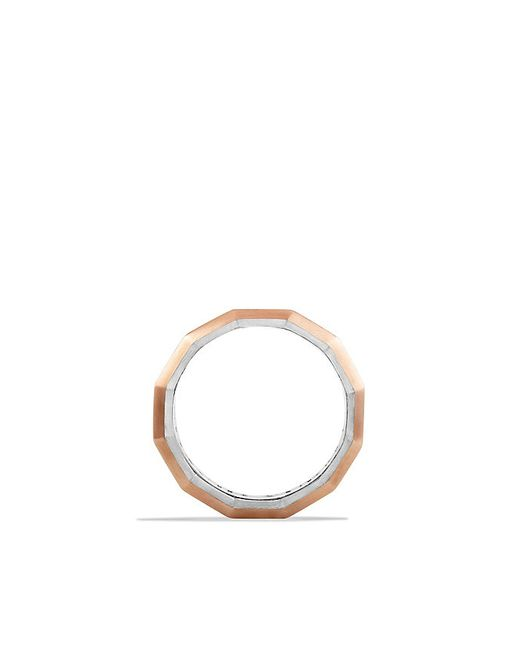 David Yurman | Pink Faceted Metal Band Ring With 18k Rose Gold | Lyst