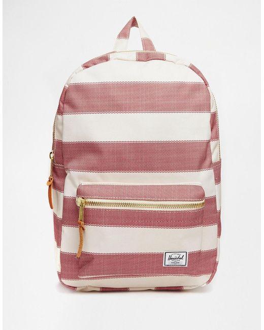 herschel supply co settlement backpack in stripe in beige natural lyst. Black Bedroom Furniture Sets. Home Design Ideas