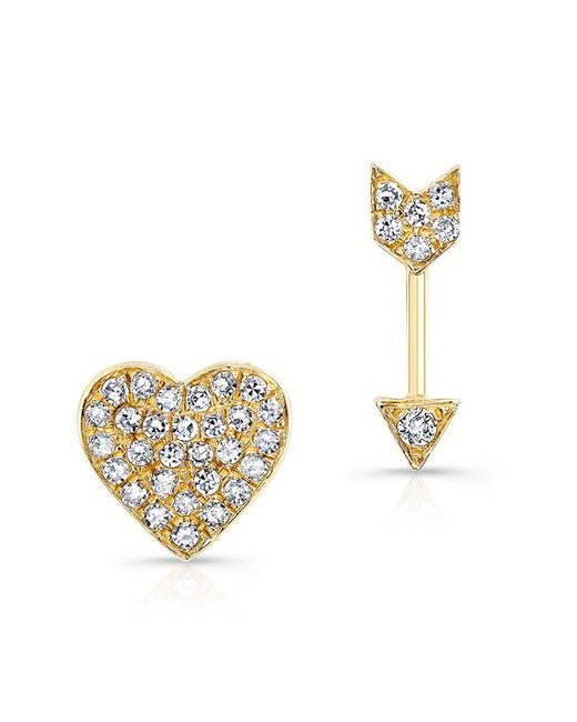 Anne Sisteron - Metallic 14kt Yellow Gold Diamond Cupid Earrings - Lyst