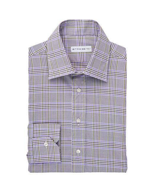 Etro Men 39 S Plaid Dress Shirt In Purple For Men Lyst