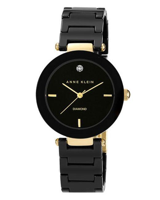 anne klein round ceramic bracelet watch in black lyst