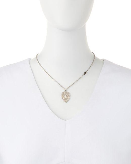 Armenta | Metallic Champagne Diamond Cravelli Shield Pendant Necklace | Lyst