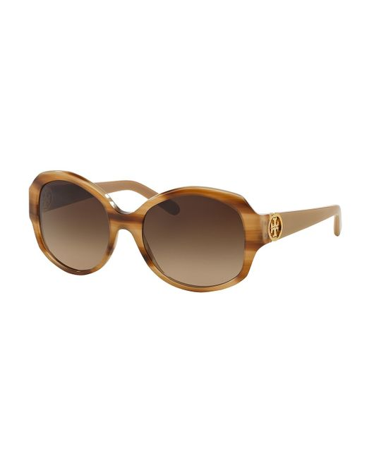 Tory Burch | Natural Oval Logo-temple Sunglasses | Lyst