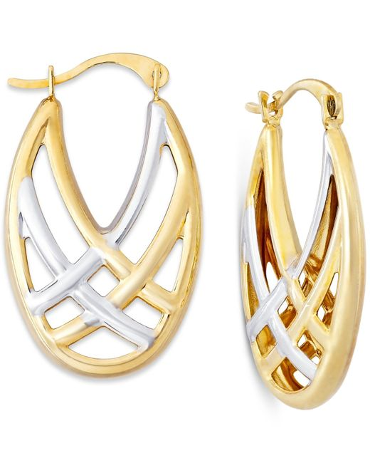 Macy's | Metallic Woven Hoop Earrings In 10k Gold And Rhodium | Lyst