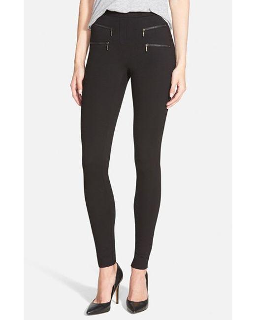 NIC+ZOE | Black Zip Detail Skinny Ponte Pants | Lyst